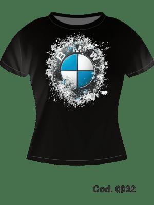 CAMISETA 100% ALG - IMPR. FRONTAL BMW - FEM BABYLOOK - M CURTA - TAM. M, G, GG