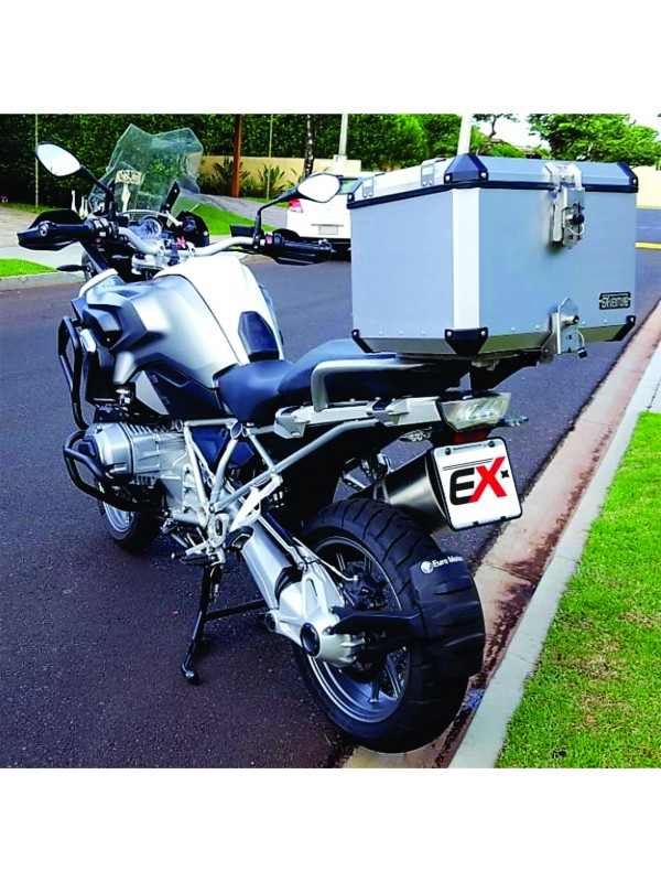 BMW R1250 GS PREMIUM HP/SPORT > TOPCASE ALUMÍNIO 49 L (1 E MEIO CAPACETES) + SUP INOX + PAR  REFORÇO DO BAGAGEIRO ORIGINAL